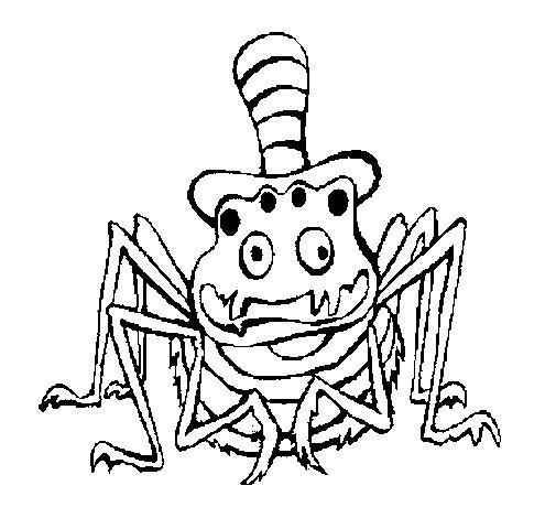 Coloriage de Araignée avec chapeau pour Colorier