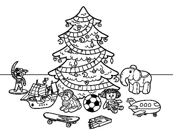Coloriage de Arbre de Noël avec jouets pour Colorier