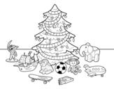 <span class='hidden-xs'>Coloriage de </span>Arbre de Noël avec jouets à colorier