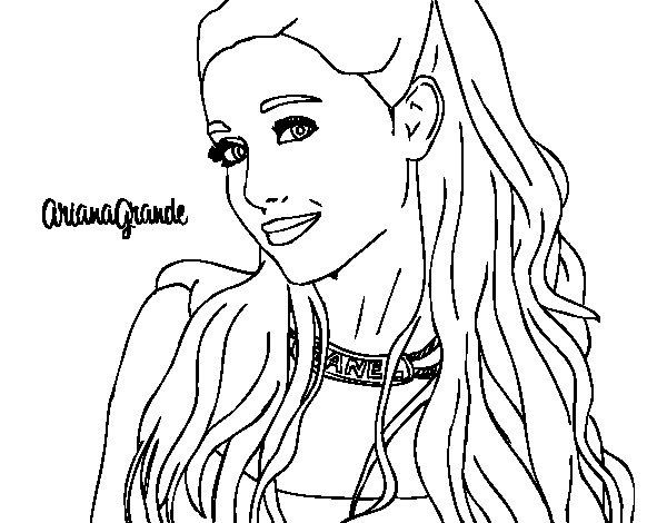 Coloriage de Ariana Grande à collier pour Colorier
