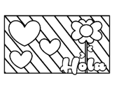 <span class='hidden-xs'>Coloriage de </span>Bonjour avec amour à colorier