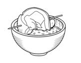 Dibujo de Brochette boeuf avec du riz