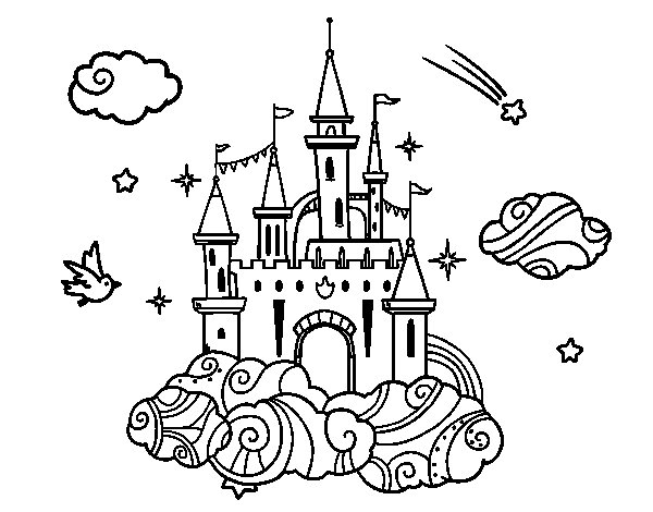 Coloriage de ch teau dans les nuages pour colorier - Chateaux dessin ...