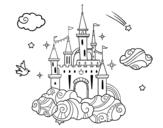 <span class='hidden-xs'>Coloriage de </span>Château dans les nuages à colorier