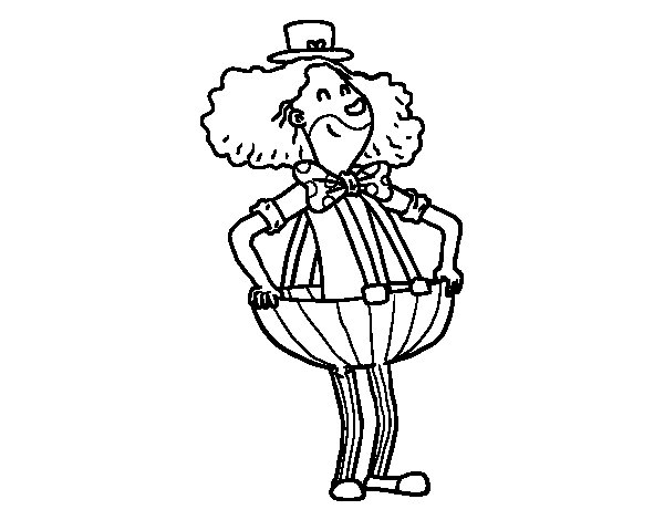 Coloriage de  Clown dans des pantalons baggy pour Colorier