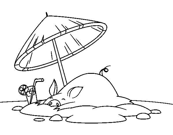 Coloriage de Cochon sur la plage pour Colorier
