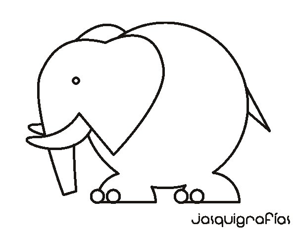 Coloriage de Éléphant gros pour Colorier