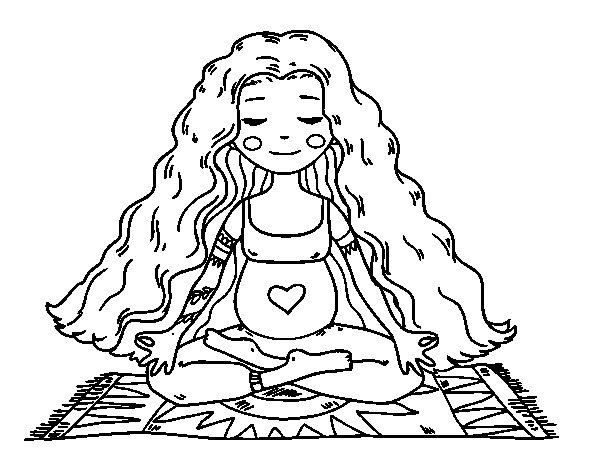 Coloriage de Enceinte à pratiquer le yoga pour Colorier