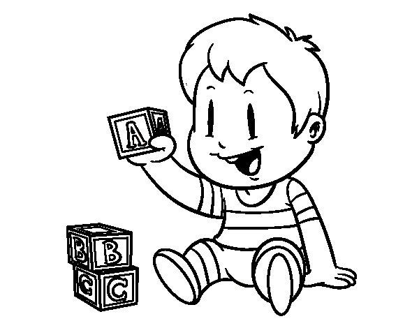 Coloriage de Enfant avec des pièces pour Colorier ...