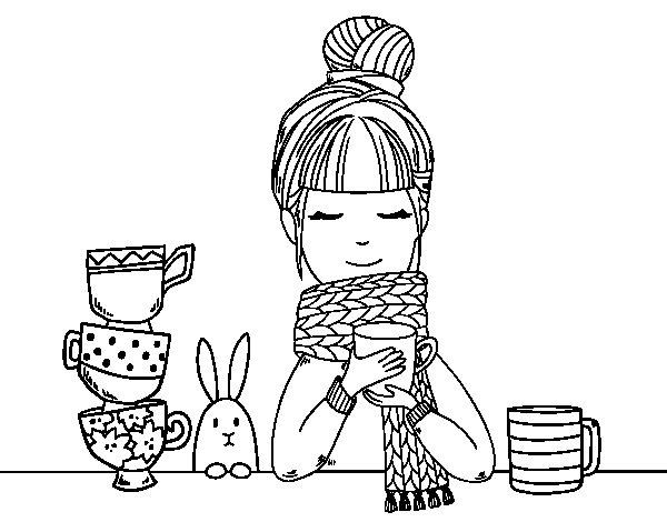 Coloriage de Fille avec un foulard et une tasse de thé pour Colorier