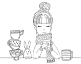 <span class='hidden-xs'>Coloriage de </span>Fille avec un foulard et une tasse de thé à colorier
