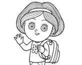 <span class='hidden-xs'>Coloriage de </span>Fille écolière à colorier