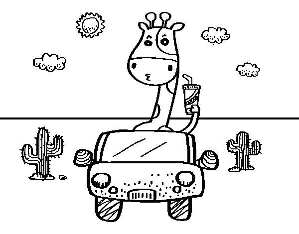 Coloriage de Girafe conduite pour Colorier