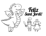 <span class='hidden-xs'>Coloriage de </span>Joyeux Saint George à colorier