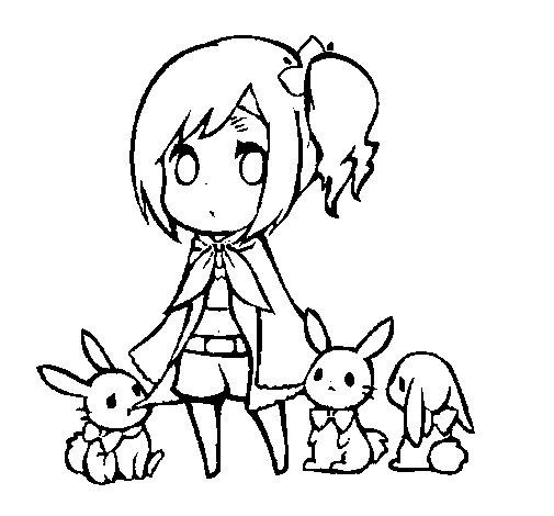 Coloriage de la jeune fille lapins pour colorier - Dessin de jeune fille ...
