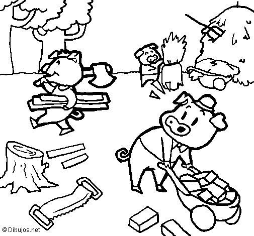 Coloriage de les trois petits cochons 1 pour colorier - Dessin anime les 3 petit cochons ...