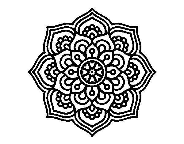 Coloriage de mandala fleur de concentration pour colorier - Coloriage fleur mandala ...