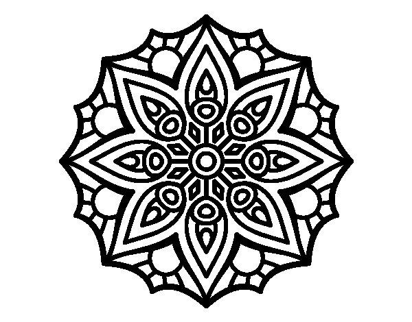 Coloriage de Mandala symétrie simple pour Colorier