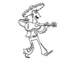 <span class='hidden-xs'>Coloriage de </span>Mariachi avec guitare à colorier