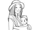 <span class='hidden-xs'>Coloriage de </span>Mère avec portage d'enfants à colorier