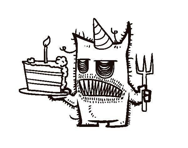 Coloriage de monstre g teau d 39 anniversaire pour colorier - Gateau d anniversaire a colorier ...