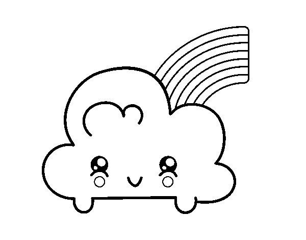 Coloriage de Nuage avec arc en ciel Kawaii pour Colorier