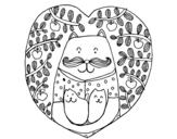 <span class='hidden-xs'>Coloriage de </span>Père chat et enfants à colorier