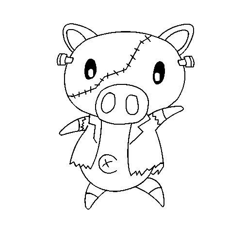 Coloriage de petit cochon graffiti frankensteint pour - Coloriage graffiti ...