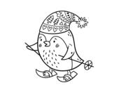 <span class='hidden-xs'>Coloriage de </span>Petit oiseau de ski à colorier