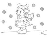 <span class='hidden-xs'>Coloriage de </span>Petit rat abritée à Noël à colorier