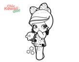 <span class='hidden-xs'>Coloriage de </span> Petite fille et la crème glacée Kawaii à colorier