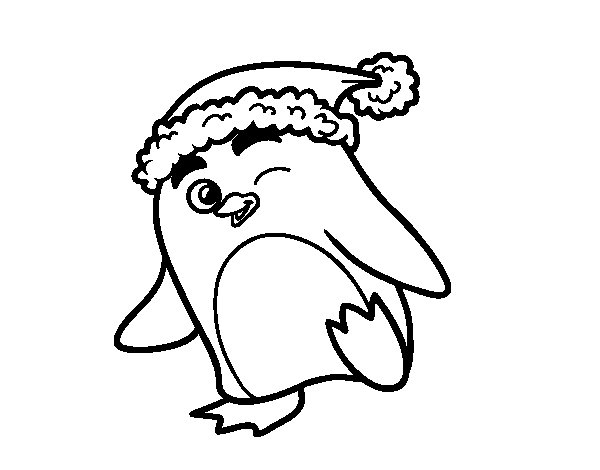 Coloriage de pingouin avec bonnet de no l pour colorier - Coloriage pinguoin ...