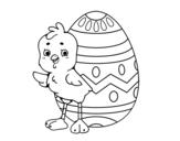 <span class='hidden-xs'>Coloriage de </span>Poussin sympathique avec oeuf de Pâques à colorier