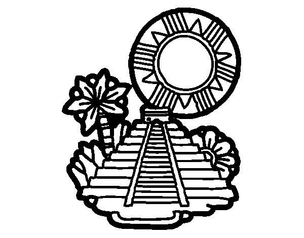 Coloriage de pyramide de kukulc n pour colorier - Dessin de pyramide ...
