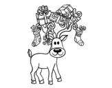 <span class='hidden-xs'>Coloriage de </span>Renne avex des cadeaux de Noël à colorier