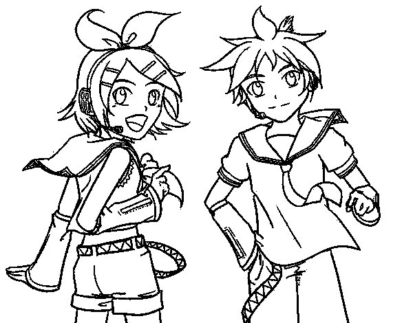 Coloriage de Rin y Len Kagamine Vocaloid pour Colorier