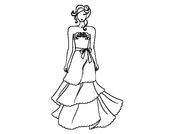 Coloriage de robe de mari e bustier pour colorier for Dessin facile a refaire
