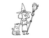 <span class='hidden-xs'>Coloriage de </span>Sorcière avec le chat Halloween à colorier