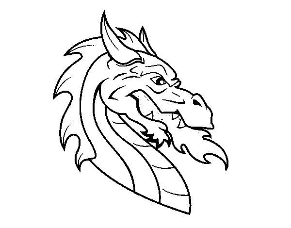 Coloriage de t te de dragon europ en pour colorier - Dessin de tete de dragon ...