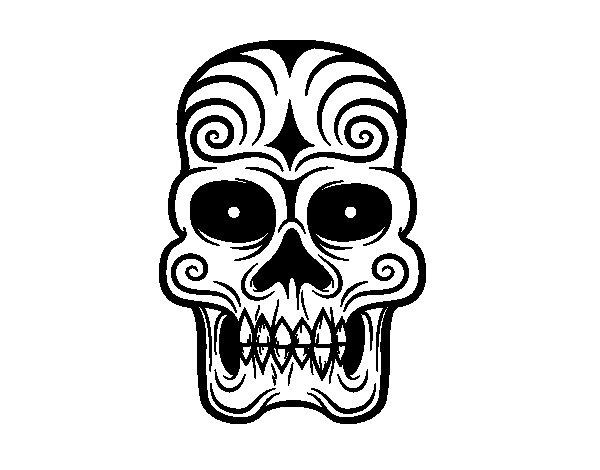 Coloriage De Tête De Mort Aztèque Pour Colorier