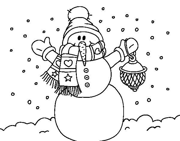 Coloriage de Un bonhomme de neige de neige de Noël pour Colorier
