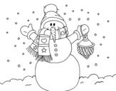 <span class='hidden-xs'>Coloriage de </span>Un bonhomme de neige de neige de Noël à colorier