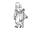 <span class='hidden-xs'>Coloriage de </span>Un moine bouddhiste à colorier