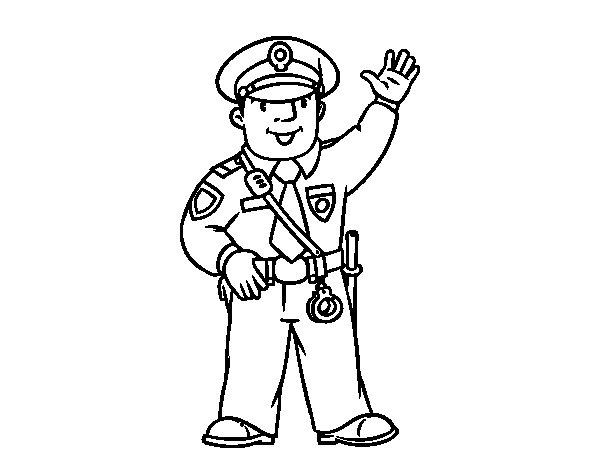 Coloriage de Un police pour Colorier