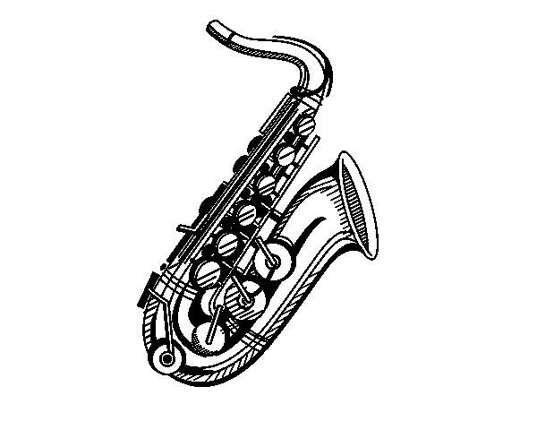 Coloriage de Un saxophone pour Colorier