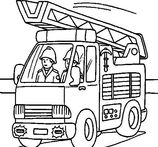 Coloriage de voiture de pompiers pour colorier - Coloriages pompiers ...