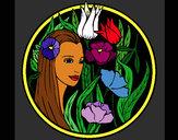Coloriage Princesse du bois 3 colorié par KAKE