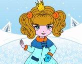 Coloriage Princesse d'hiver colorié par ILIANA