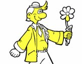 Homme content avec une fleur