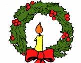 Couronne de Noël et une bougie